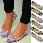 New Ladies Flat Ballerina Pumps Womens Ballet Dolly Flower Canvas Bow Shoes Size