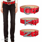 NEW RED LADIES WOMENS RHINESTONE BUCKLE WAIST DRESS BELT FITS SIZE UK 10 - 14