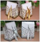 Silver / Gold  Wedding Favour Gift Candy Boxes Decoration with Ribbon #ZH01