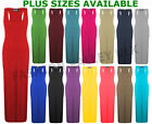 WOMENS LADIES PLUS SIZE JERSEY MUSCLE RACER BACK MAXI LONG VEST DRESS SIZES 8-26