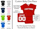 Pistons Baby One Piece - Custom Name and Number, Creeper, Onesie