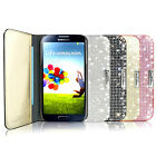New Samsung Galaxy S4 Genuine Leather Flip Cover Card Case_luxury Crystal Cubic