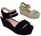 BRAND NEW LADIES WOMEN PLATFORM WEDGE FAUX SUEDE BUCKLE SANDALS SHOES SIZE 3-8