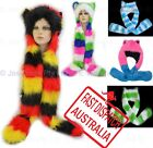 Trooper Trapper Ski Hat Bomber Faux Fur Wolf Party Animal Hood Gloves Colourful