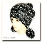 NEW FASHION WOMEN WINTER BEANIE KNITTED Snow Ball Hat Multi Color / BLACK-A33