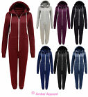 NEW LADIES WOMENS PLAIN PLAYSUIT ALL IN ONE HOODED JUMPSUIT SIZES 8 10 12 14
