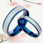 UK BLUE His & Her 2 RINGs SET Wedding Ring Anniversary Couple Titanium Rings Set