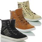 NEW WOMENS LADIES GIRLS FAUX LEATHER LACE UP HI TOP TRAINER BOOTS SHOES SIZE