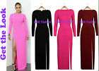 NEW CELEB STYLE LONG SLEEVE FRONT SLIT FULL LENGTH MAXI DRESS 3 NEW COLOURS 8-14