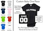 Dolphins Baby One Piece - Custom Name and Number, Creeper, Onesie