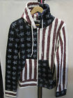 LADIES GIRLS AMERICAN STARS STRIPES FLAG PRINT HOODIE USA ZIP UP HIP HOP JACKET