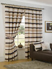 MODERN SIENNA STRIPES DESIGN NATURAL BROWN PENCIL PLEAT LINED READYMADE CURTAINS
