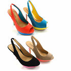 NEW LADIES PEEP TOE SLINGBACK STILETTO HIGH HEEL PLATFORM FASHION SANDALS SHOES