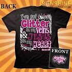 I've got Glitter in my Veins and Jesus in my Heart Christian T-Shirt KERUSSO