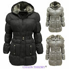 Ladies Quilted Padded Belted Womens Fur Hooded Puffer Parka Jacket Winter Coat