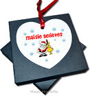 Personalised Child Believes Christmas Hanging Heart Tree Ornament Decoration