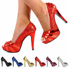 WOMENS LADIES HALF CONCEALED PLATFORM HIGH STILETTO HEEL PARTY COURT SHOES SIZE