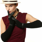 WARMEN Women's  Lambskin Leather & Wool Gloves with Belt and Buckle at Wrist