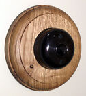 Period 112mm Round Oak Pattress with 1/2 Way Bakelite Style Dolly Light Switch