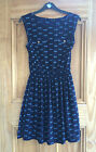 ATMOSPHERE NEW ANIMAL PRINT DRAGONFLY NAVY BLUE RETRO DRESS SIZES 8 10 BNWOT