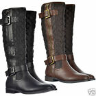 WOMENS, LADIES BLACK & BROWN FLAT RIDING QUILTED BOOT ZIP BUCKLE FURRY LINED