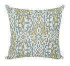 Kina Saffron Grey and Yellow Geometric Ikat Print Decorative Throw Pillow