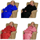 NEW SNUGGLE SNUGGIE CUDDLE FLEECE SNUG BLANKET WITH SLEEVES WARM RUG EASY WRAP