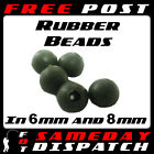 Soft Rubber Rig Beads Green or Black 50 or 100 for carp coarse fishing 6mm 8mm