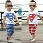 """Super"" Shirts T-Shirts+Pants Outfit Set Tops Boys Kids Baby Sportwears New 1-6y"
