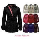 NEW LADIES QUILTED BELTED WOMENS PADDED ZIP COAT JACKET TOP PLUS SIZE 8-20