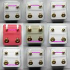 STERILE 24ct GOLD Plated STUD Earrings in Assorted designs Sold in Pairs
