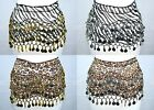 Внешний вид - 128 Coins Animal Zebra Leopard Print Belly Dance Skirt Scarf Belt Gold Silver