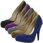 New Ladies High Heel Bridal Evening Sandals Sexy Glitter Court Shoes UK Size 3-8