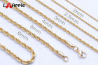 Mens Womens 316L Stainless Steel 16K Gold plated Rope Necklace Gold Chain