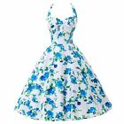 Cotton Swing 50s 60s Halter Housewife Pinup Vintage Rockabilly Party Short Dress