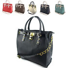 New Women Ladies Large Faux Leather Designer Vintage Padlock Shoulder A4 Bag UK