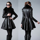 Womens Coat faux fur collar Jacket Artificial leather slim trench Skirt Overcoat