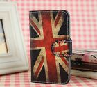Uk US Flag For Various Mobile phones PU Leather Cover Case With Card Holder