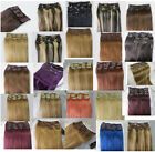 7PCS Clip In Remy 100% Real Human Hair Extensions 28 COLORS Choose Length 75G