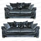 LUSH 2 AND 3 SEAT SOFA GREY AND BLACK CHENILLE SPECIAL EDITION