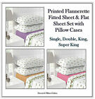 LUXURY THERMAL ROSEBUD FLANNELETTE SHEET SET - FLAT, FITTED SHEET & PILLOWCASES