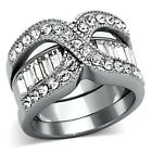 Women's Stainless Steel Crystal  Eternity Engagement Band 2 Rings Sizes 5-10