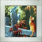 New completed finished needlepoint Embroidery-Lovely cat and birds-soft framed