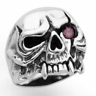 STAINLESS STEEL SKULL RING WITH RED EYE SIZES 10-14 R44