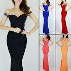 Long Wedding Sequins Backless Mermaid Prom Cocktail Ball Gown Evening Dress Red