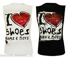 NEW LADIES WOMENS 'I LOVE SHOES BAGS & BOYS' GLITTER PRINTED VEST TOPS SM & ML