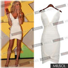 Women's White Red V-neck Evening Party Cocktail Bandage Bodycon Dresses 68102468