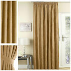 """SUZY faux suede lined 57x54"""" curtains pencil pleat heading CARAMEL *W@W 50 OFF*"""