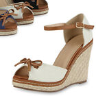 Damen Keilabsatz Sandaletten Bast Wedges 71360 High Heels Gr. 36-41 Top