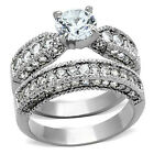 Engagement Ring Set 3.15 CTW CZ Stainless Steel Solitaire Ring and Wedding Band
